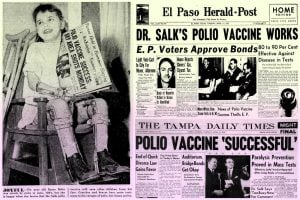 Salk's potent polio vaccine was a huge medical advance (1955)
