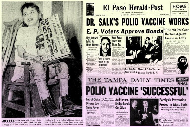Salk's potent polio vaccine was a huge medical advance (1955)
