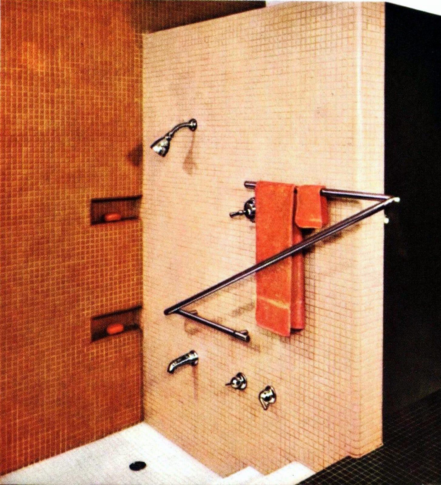 Salmon-colored mosaic vintage bathroom tile walk-in shower