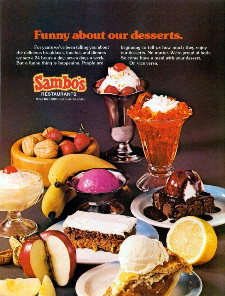 Sambo's desserts from 1976