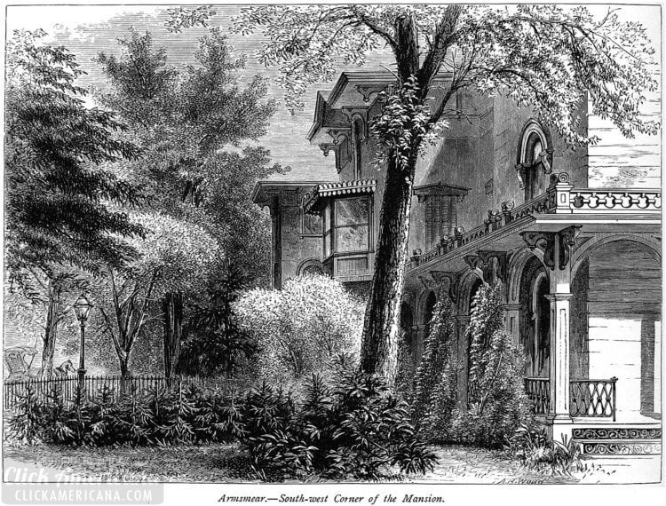 Samuel Colt House - Armsmear - Vintage drawing of this mansion