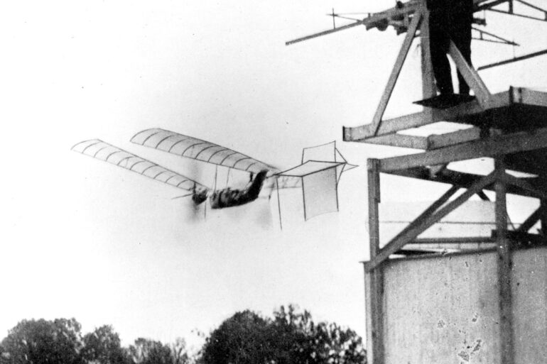 Samuel P. Langley's large steam-powered model Aerodrome No. 5 making a successful flight, 1896.