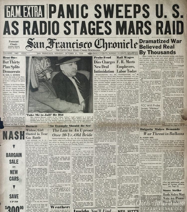 San Francisco Chronicle - War of the Worlds panic - 1938