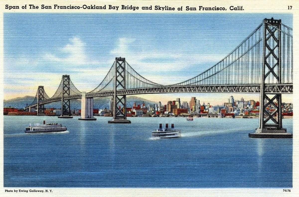 San Francisco-Oakland Bay Bridge - Vintage postcard from 1930s-1940s