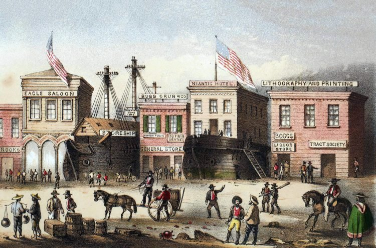 San Francisco with ships as buildings in 1856