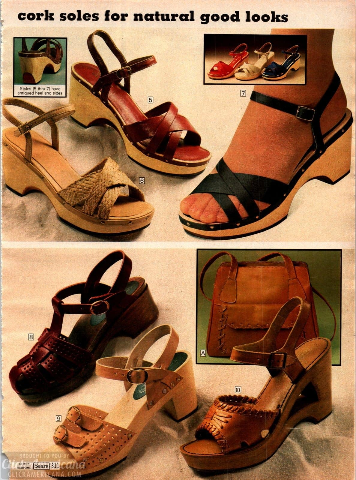Sandals with cork soles and chunky heels from 1979