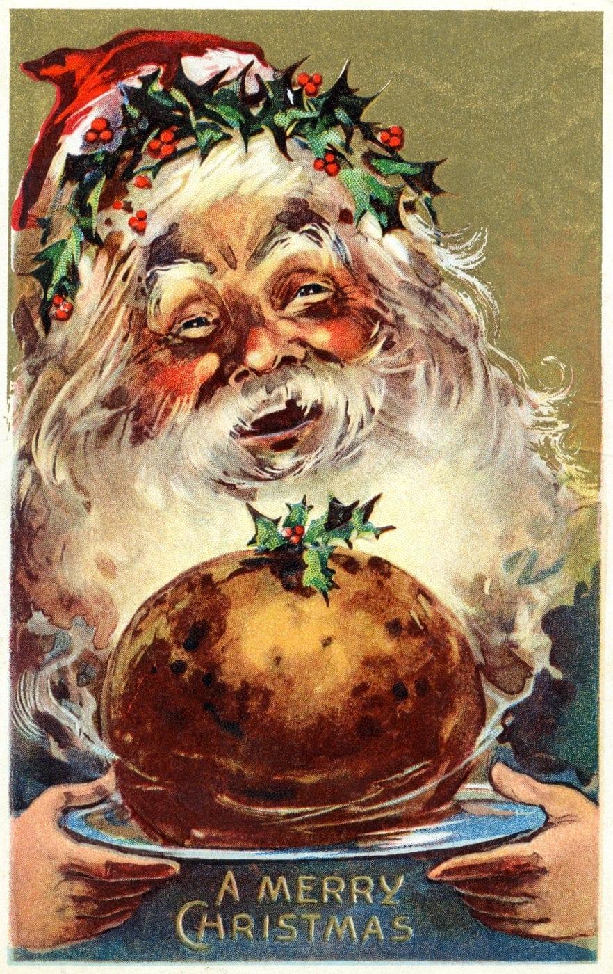 Santa plum pudding vintage postcard