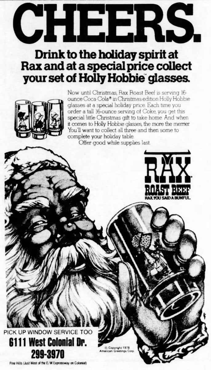 Santa with Holly Hobbie drinking glass (1978)