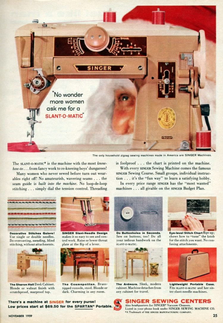 Santa with Vintage Singer sewing machines with Slant-O-Matic - 1959
