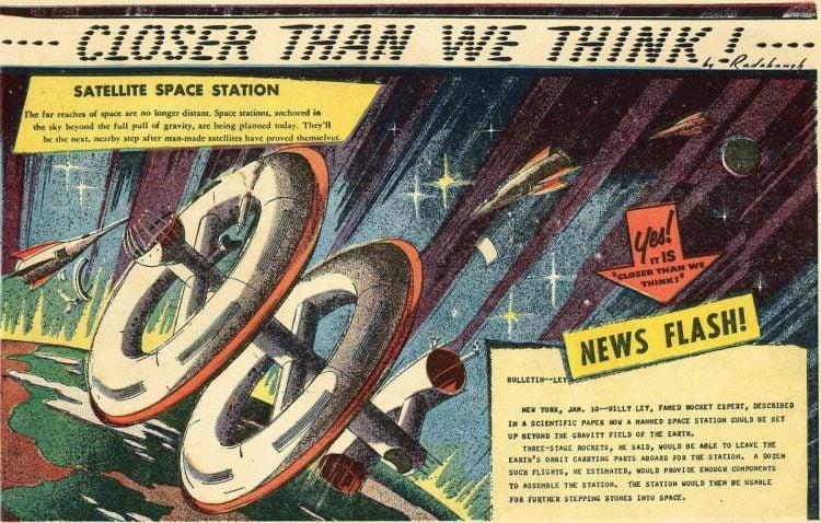 Satellite space station- Futuristic vintage cartoon