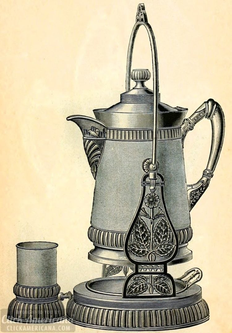 Satin-finish silver tilting pitcher water set 1889