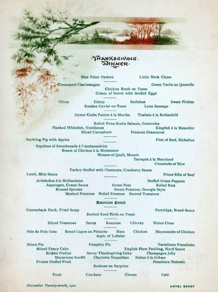 Savoy Hotel Thanksgiving Menu - Philadelphia - 1900