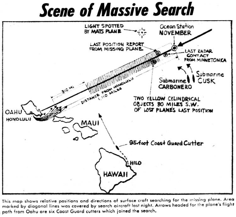 Scene of massive search map - 1957