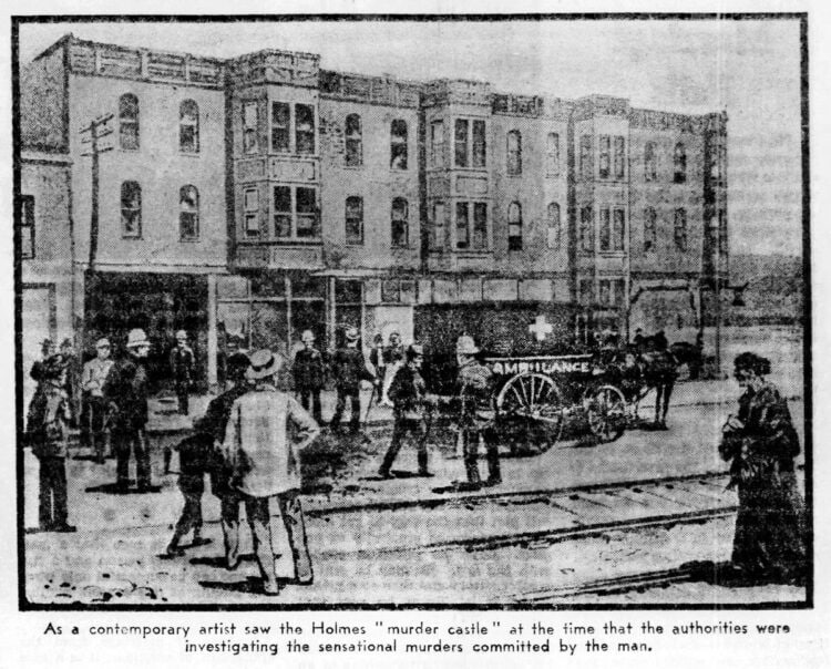 Scene of the investigation as imagined in 1937