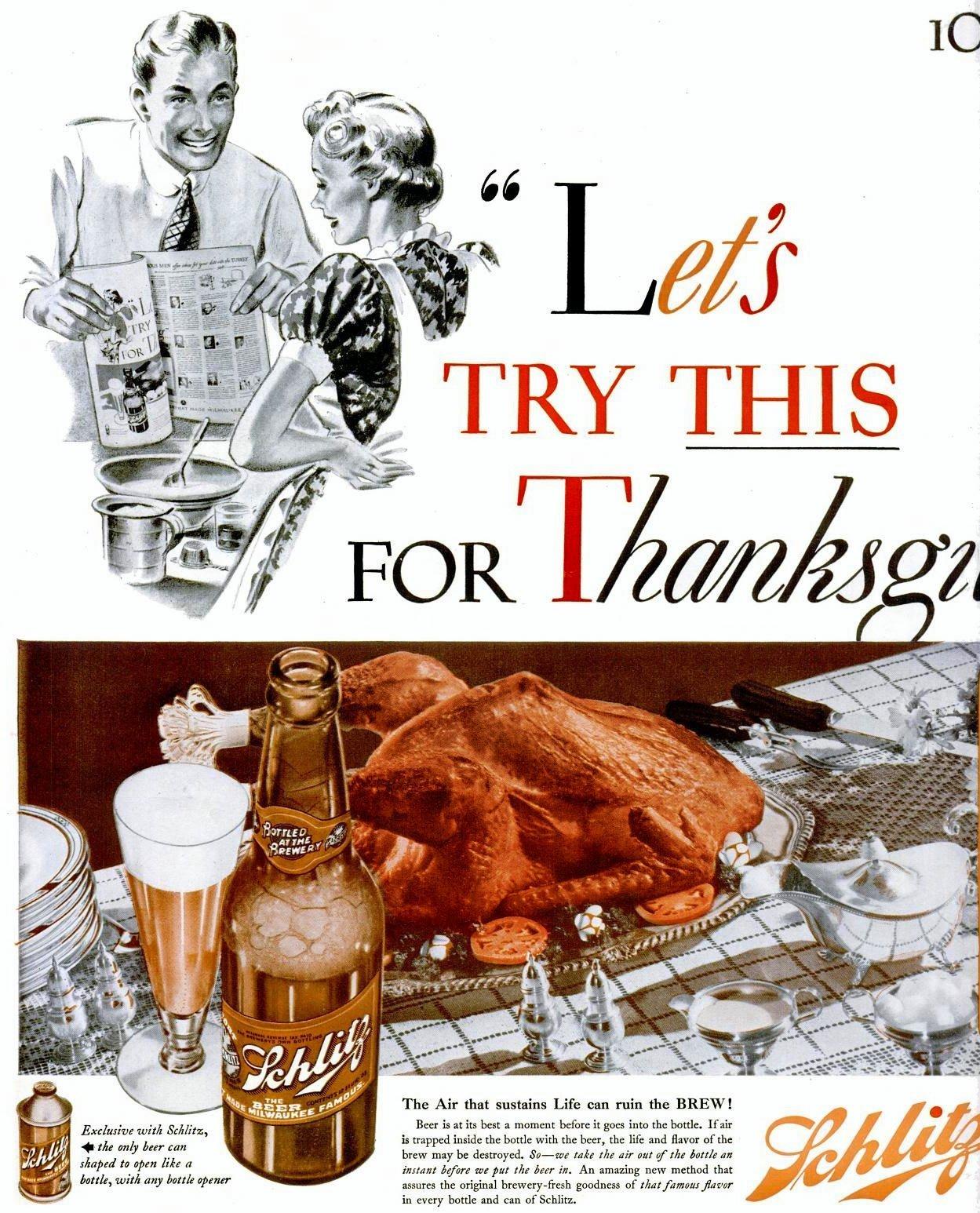 Schlitz Thanksgiving beer (1939)