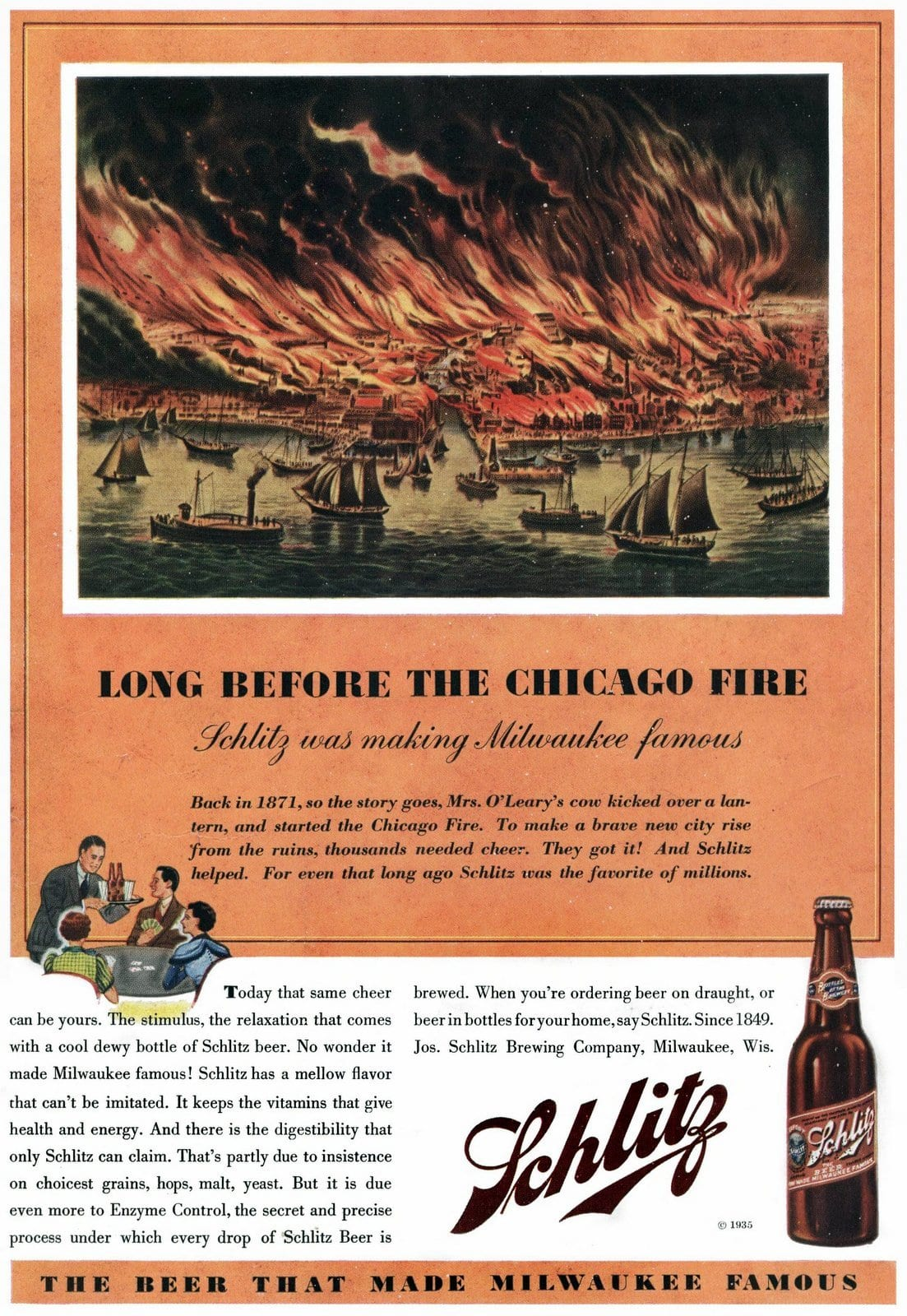 Schlitz beer before the Chicago Fire (1935)