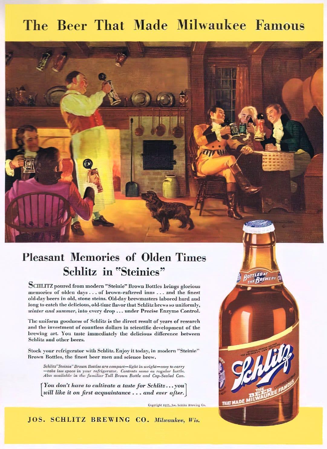 Schlitz beer in Steinies (1937)