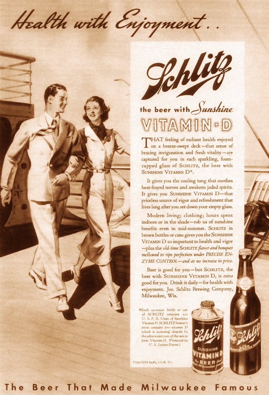 Schlitz beer with vitamin D (1936)