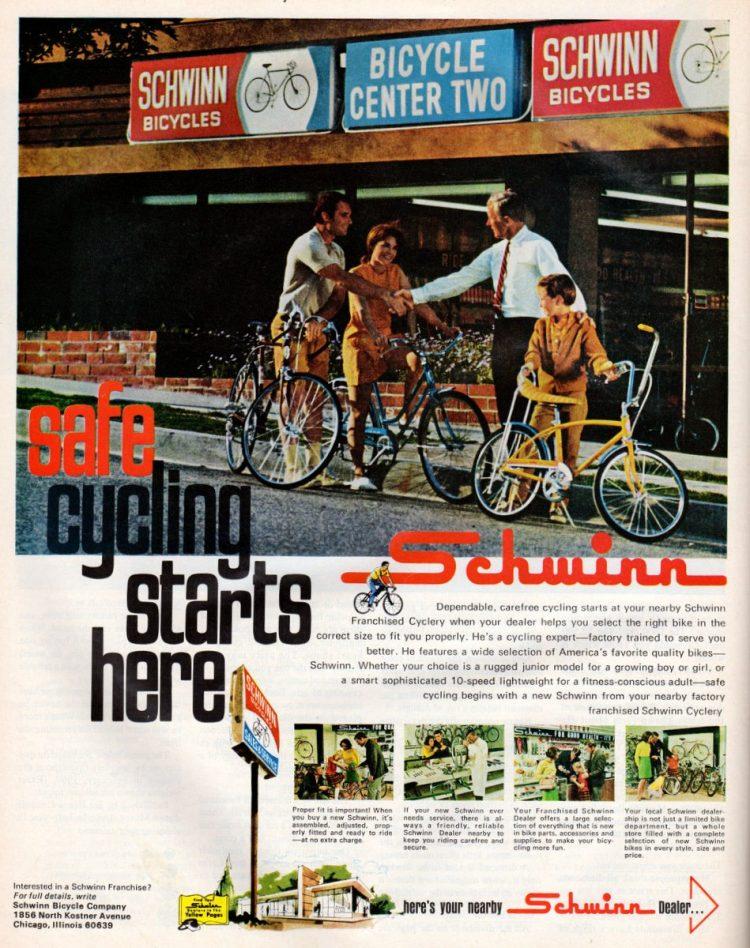 Schwinn 10 speed bikes from 1969
