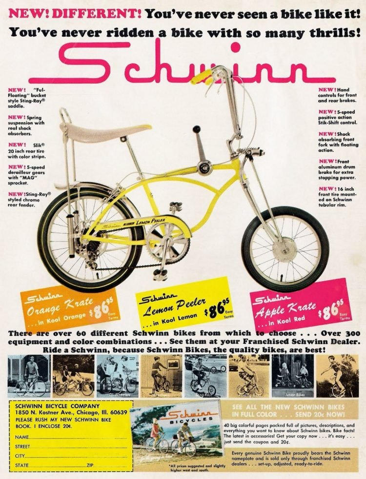 Schwinn Orange Krate Apple Krate and Lemon Peeler bikes from 1968