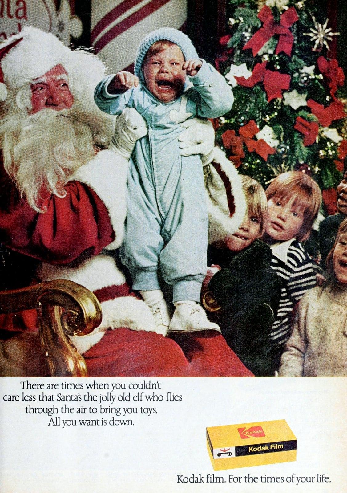 Screaming toddler with Santa around 1974 - Kodak ad