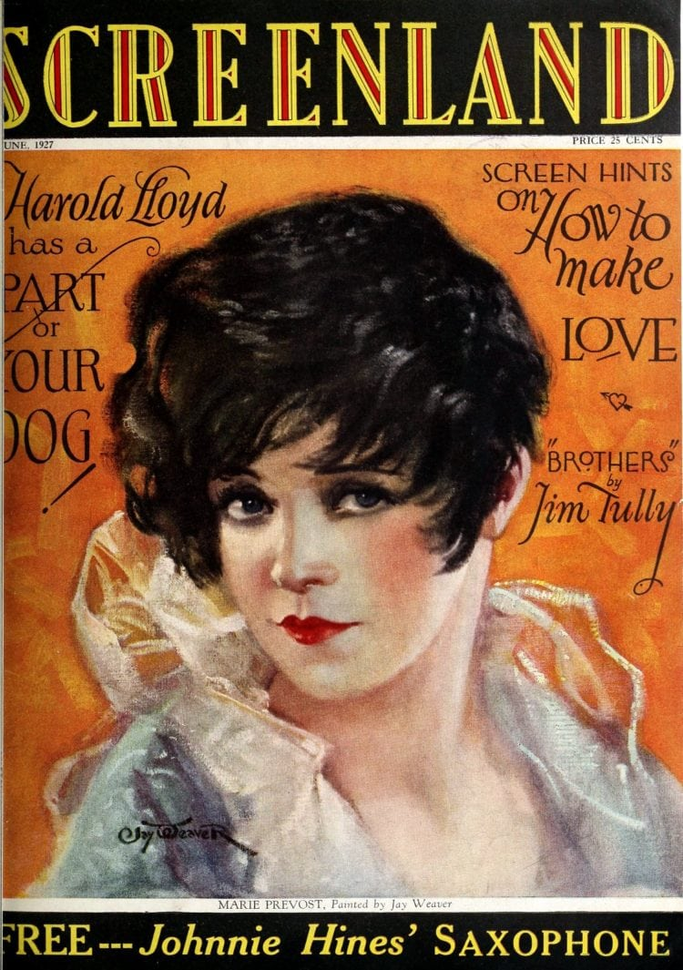 Screenland magazine cover with Marie Prevost - 1927 - Silent movies
