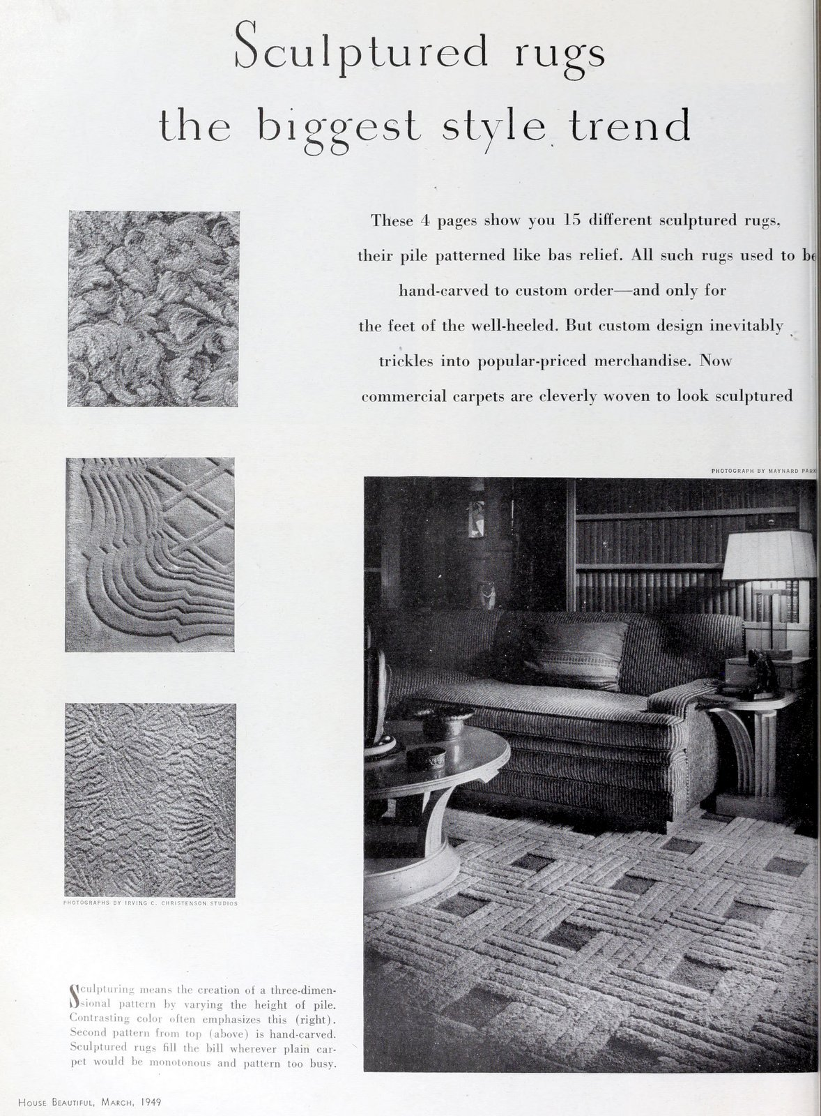 Scuptured rug styles (1949)