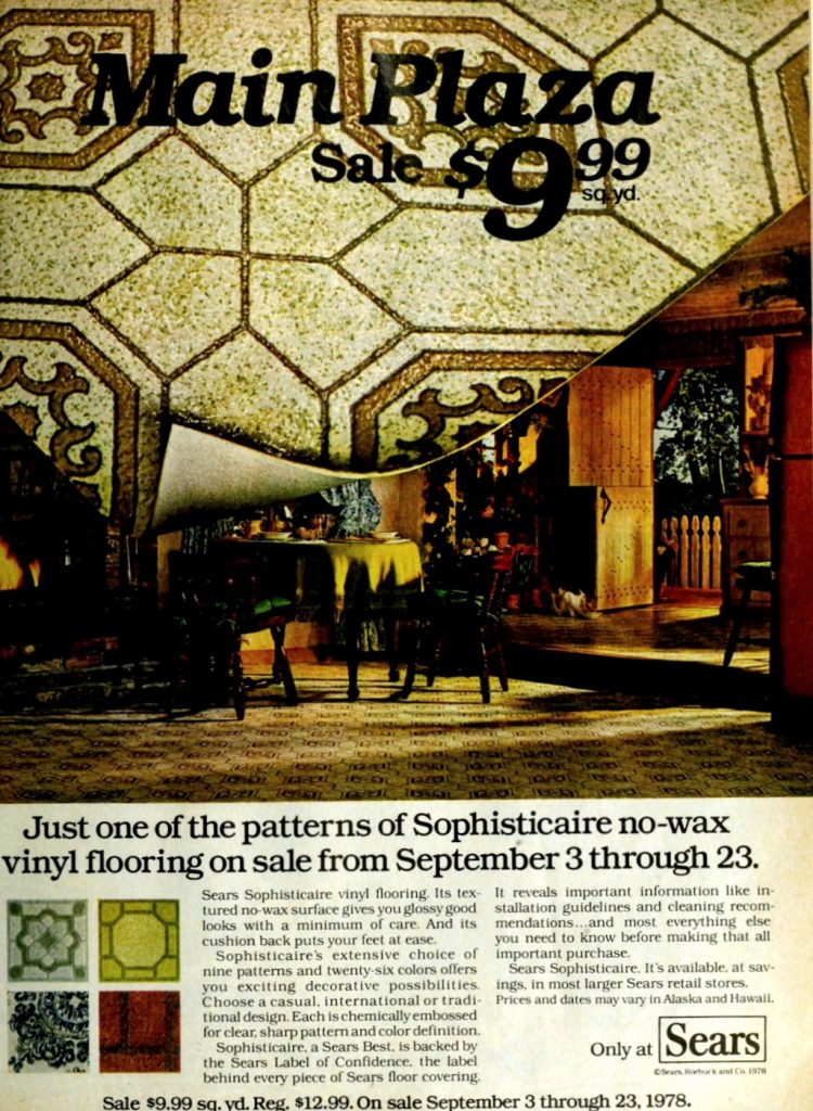 Sears Sophisticate no-wax vinyl flooring - Tile style (1978)