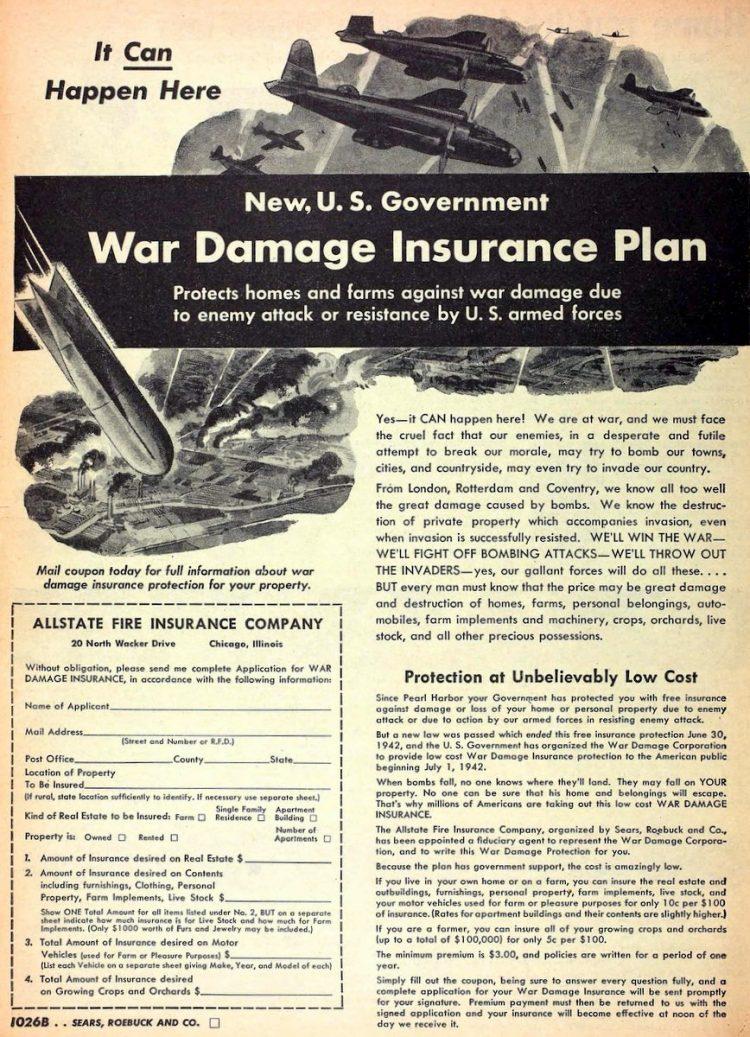 Sears War Damage Insurance Plan from 1942 WWII