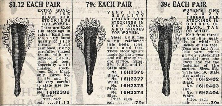 Sears silk stockings 1912