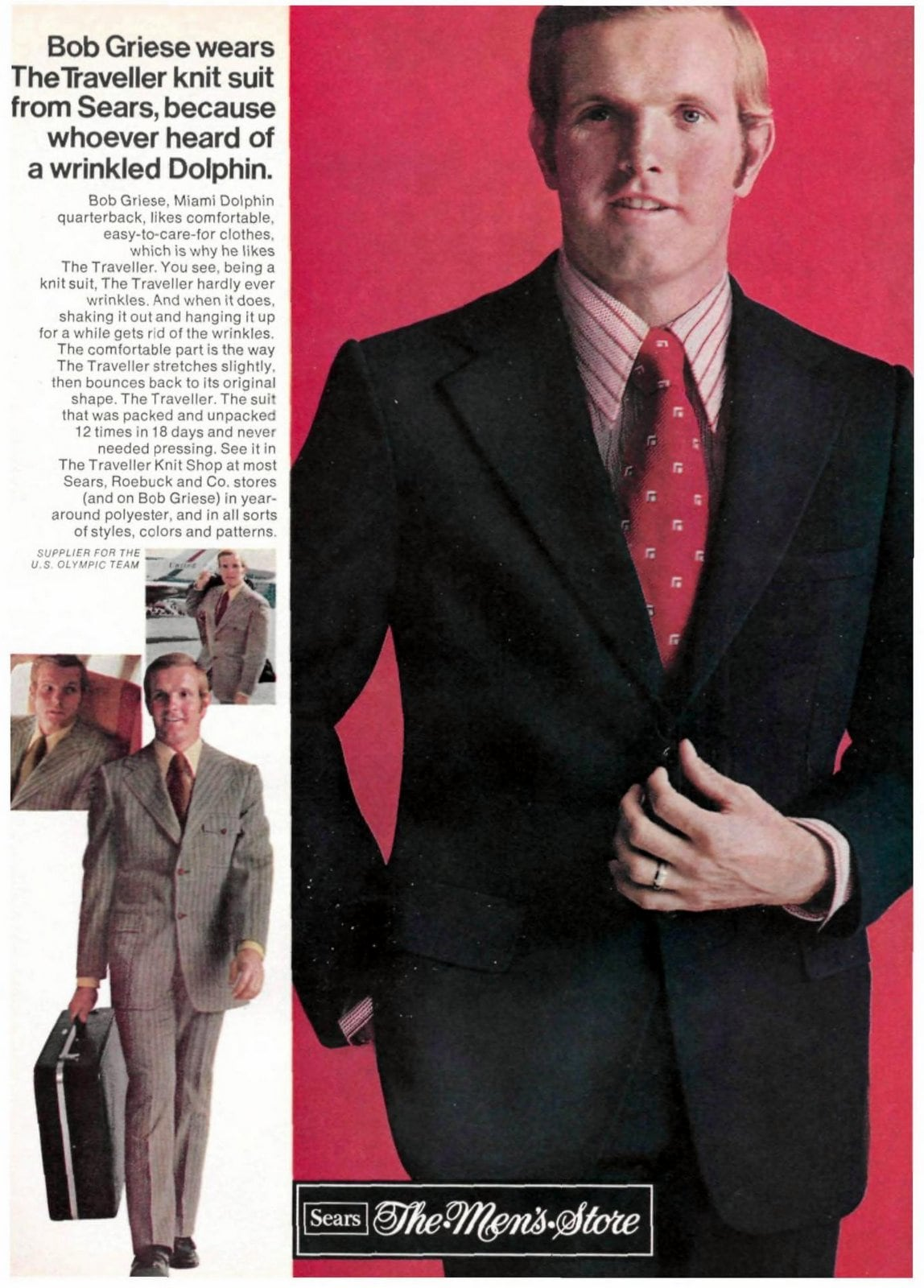 Sears suit on football player Bob Griese (1971)