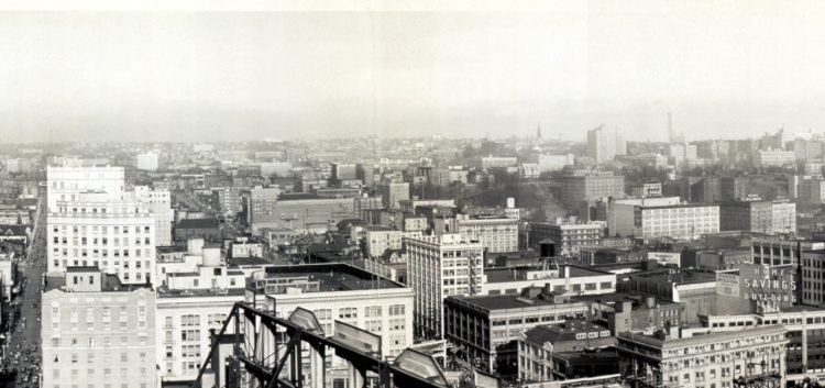 View from the New Washington Hotel, a portion of greater Seattle 1929