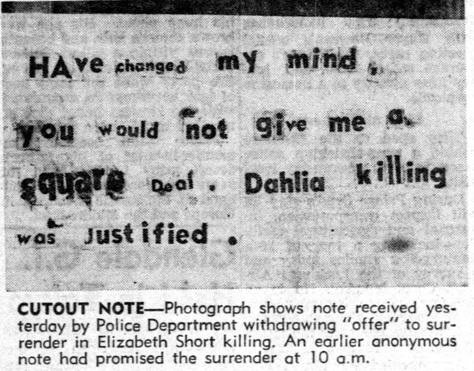 Second cutout note about Black Dahlia murder - January 30 1947