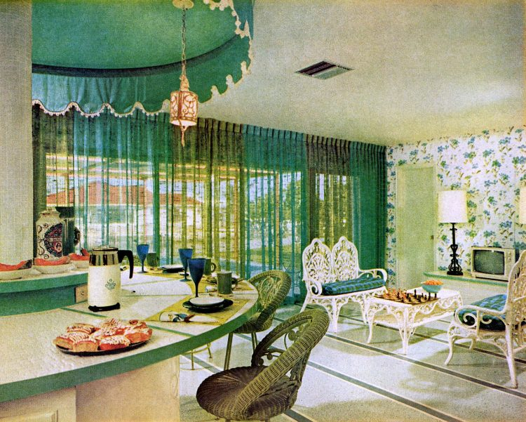 See a party-perfect carousel kitchen island in turquoise (1966)