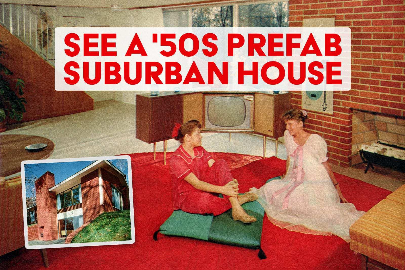 See a vintage 1950s prefab suburban house