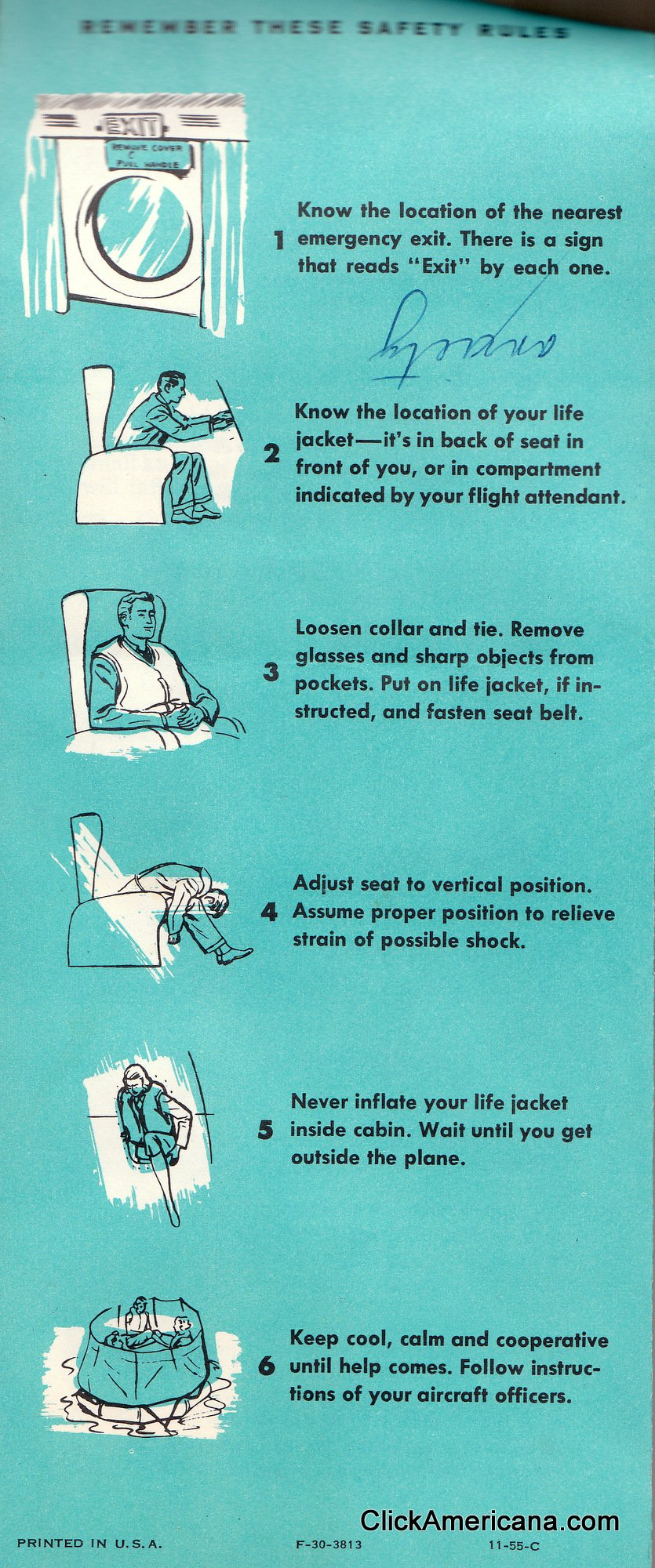 See a vintage airplane safety card from the '50s