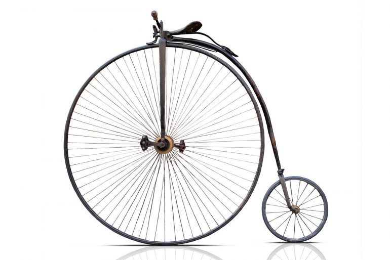 The ups & downs of high wheel bicycles (penny-farthing bikes) from the 1890s