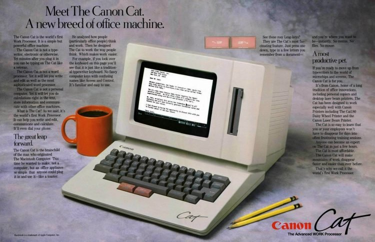 See the vintage Canon Cat word processor