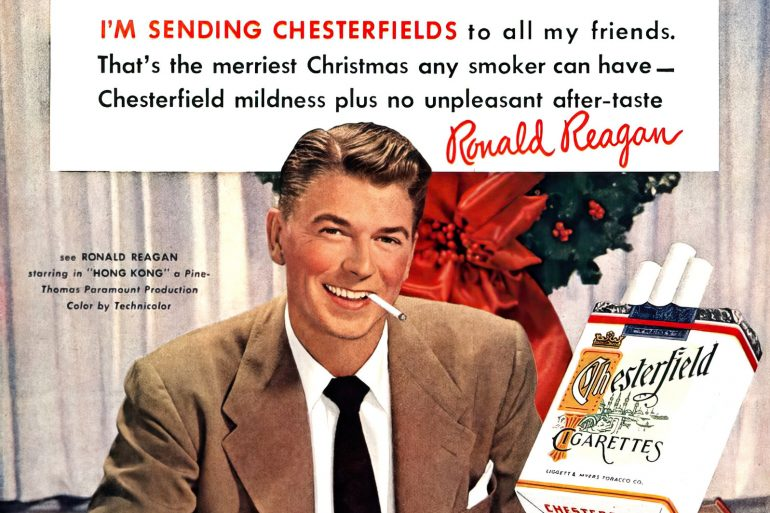 See the vintage celebrities who used to advertise cigarettes - Ron Reagan 1950s