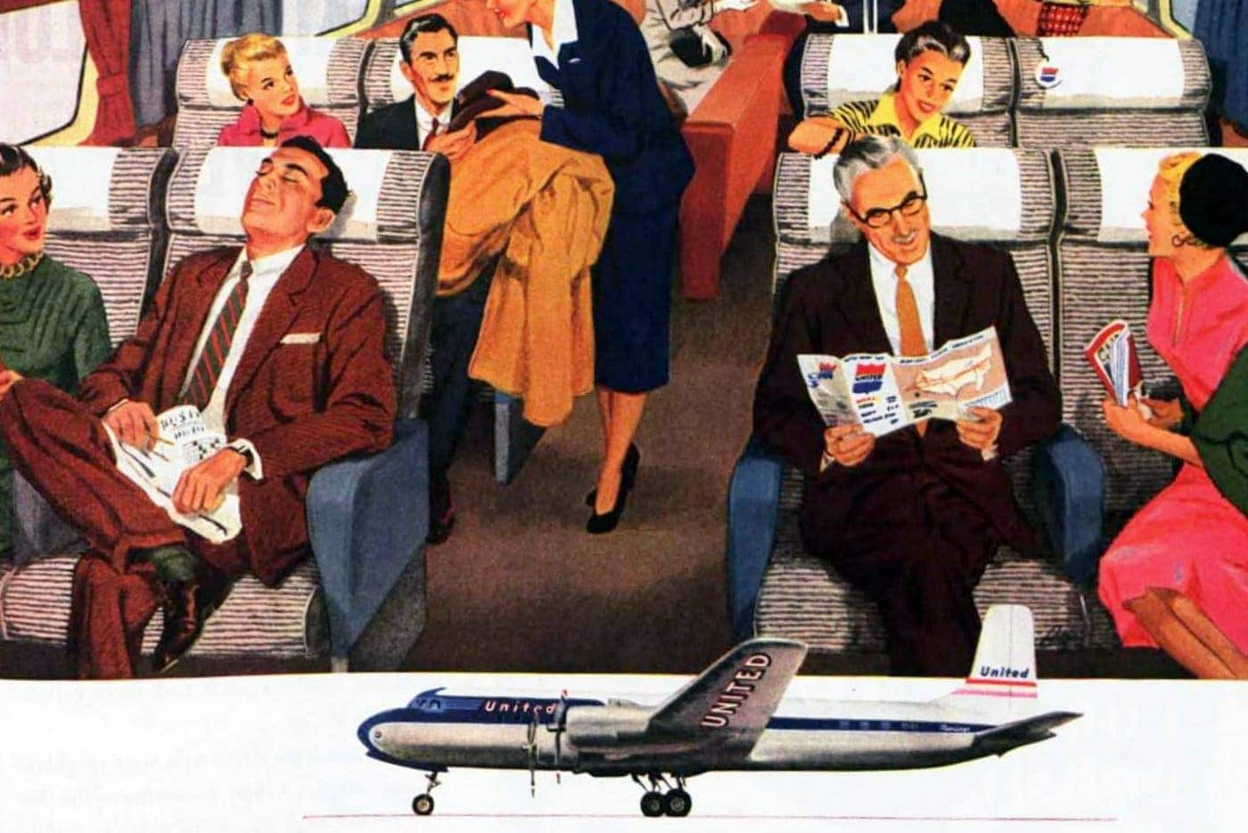 See what United Airlines flights back in the 50s