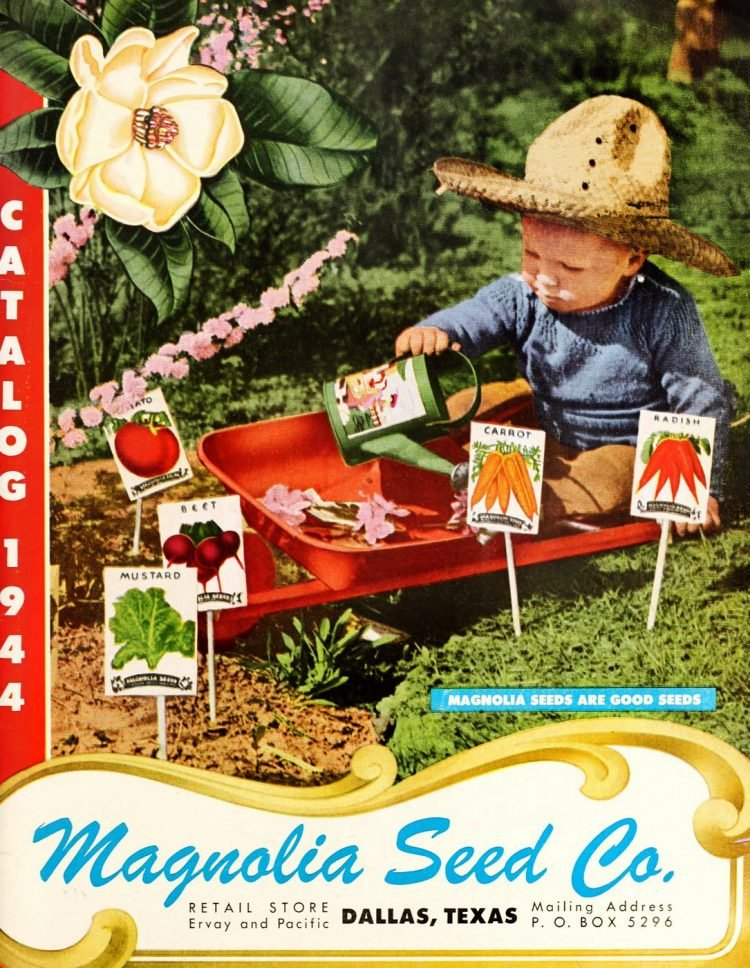 Seed catalog from 1944 - Little kid growing vegetables