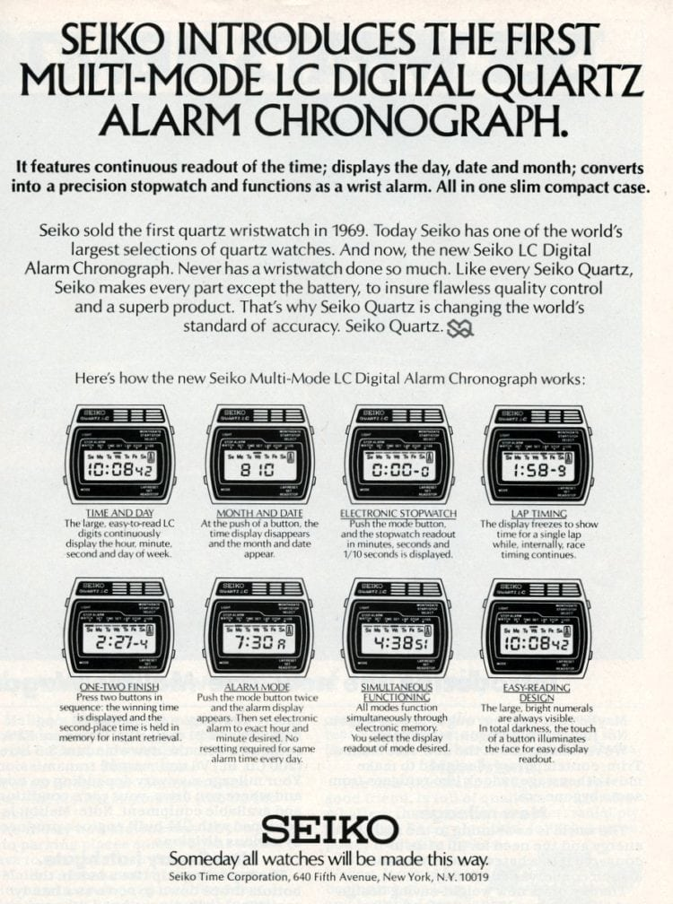 Seiko digital quartz alarm watch-1977