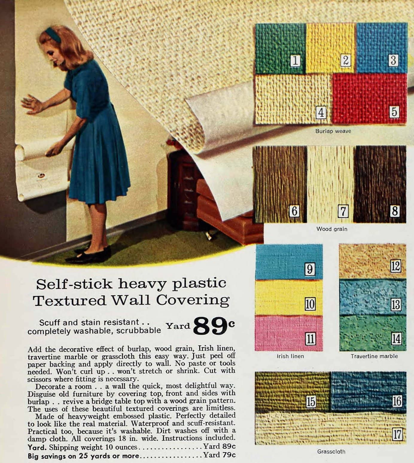 Self-stick heavy plastic textured wallcovering - 1960s wallpaper