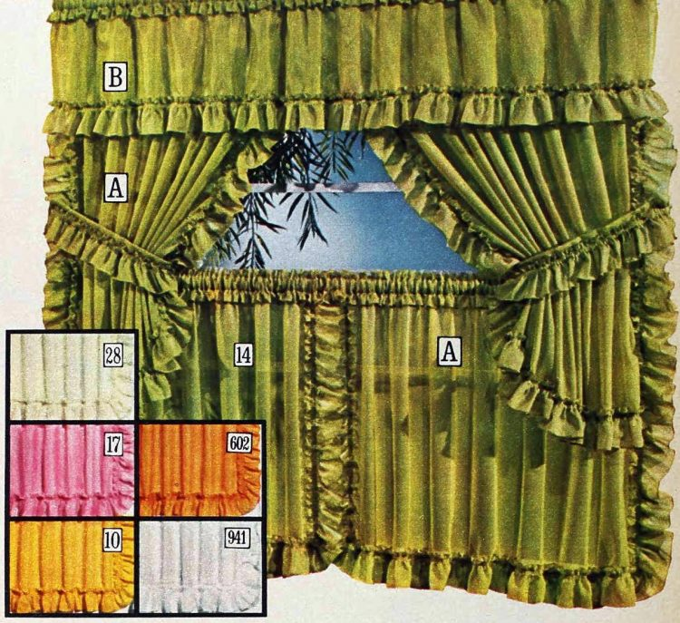 Semi-sheer ruffle round curtains - Dazzle pattern