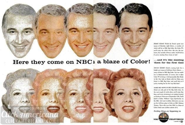 Perry Como & Dinah Shore on NBC on color TV (1956)