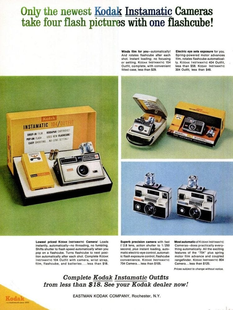 Sep 17, 1965 Flash cubes cameras - Kodak Instamatic