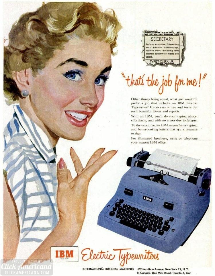 Sep 21, 1953 Secretary job typewriter