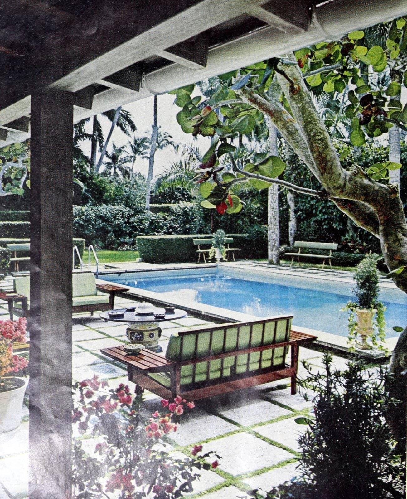 Serene pool and backyard scene in Palm Beach (1969)