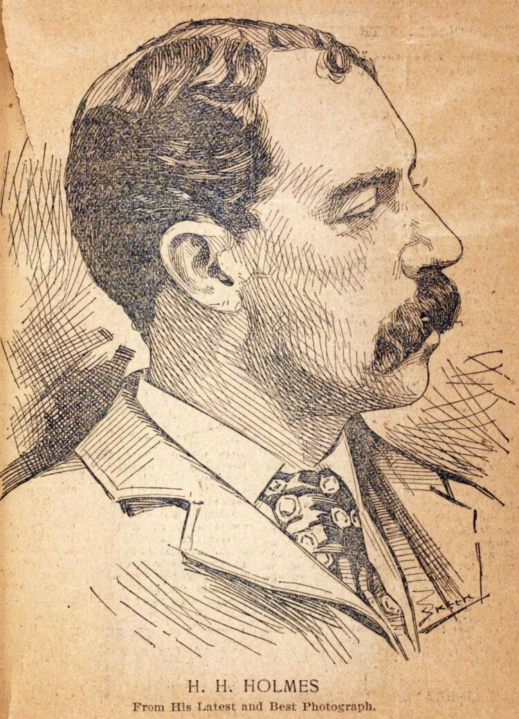 Serial killer H H Holmes portrait from c1896