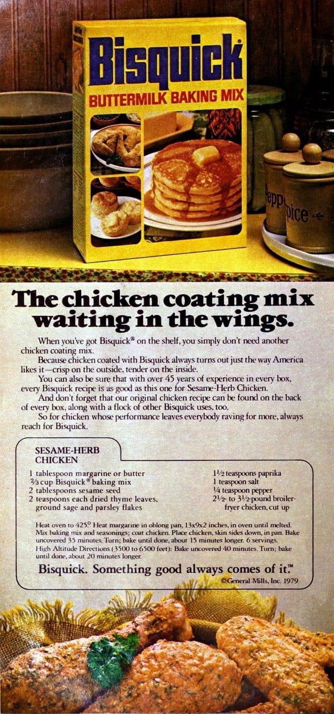 Sesame-herb chicken retro recipe (1979)